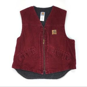 Carhartt Red Sherpa Lined Western Canvas Vest